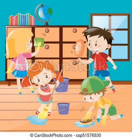 Boys and girls cleaning room together.