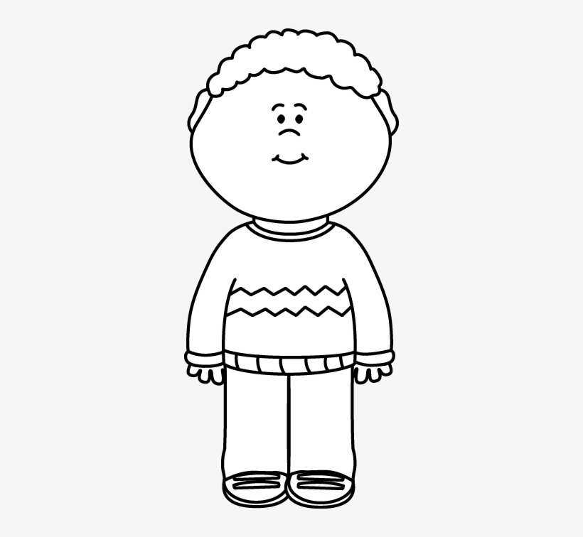 Black And White Kid Wearing A Sweater Clip Art.
