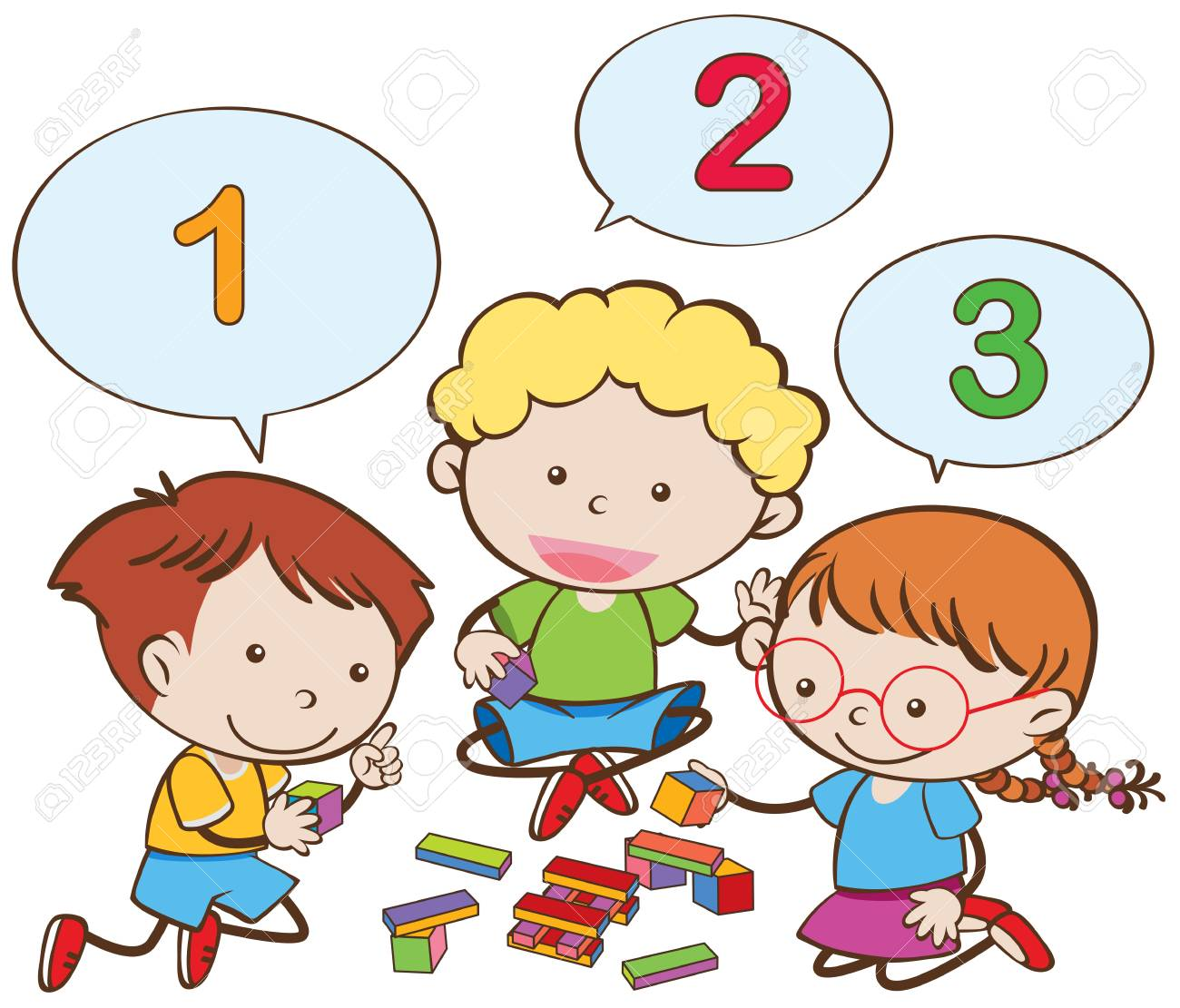 Happy children counting numbers illustration.