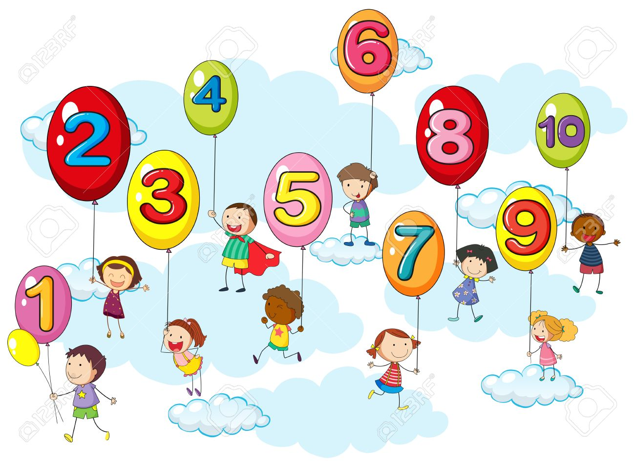 Counting numbers with kids on balloons illustration.