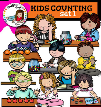 Kids counting set1 clip art.