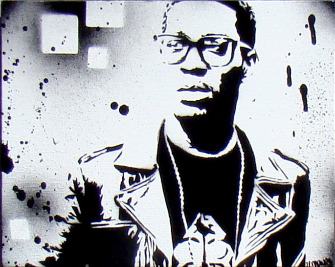 8x10 Kid Cudi Painting canvas black and white.