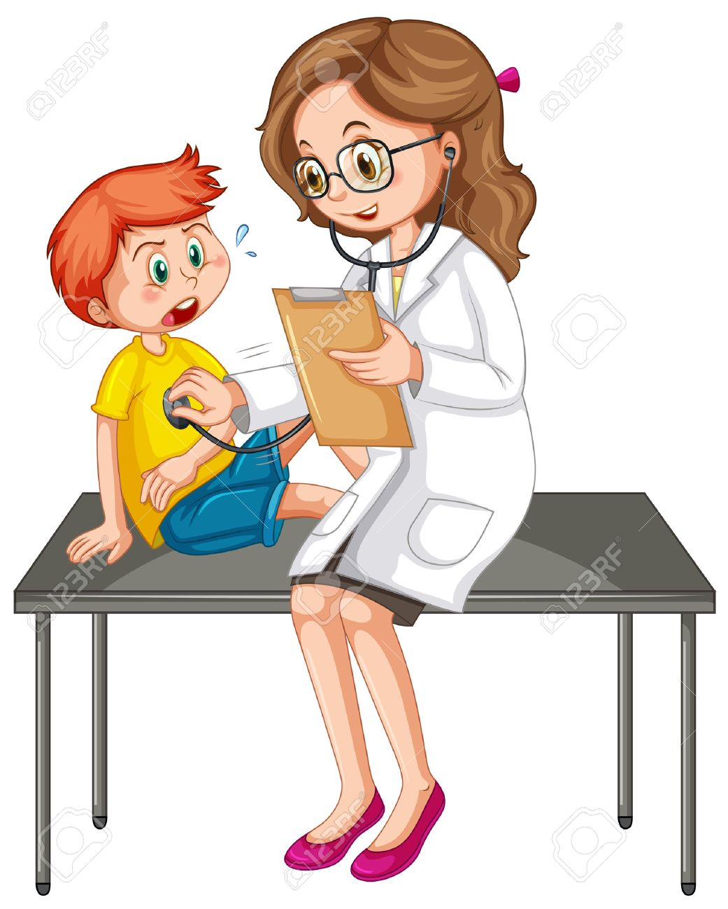 Doctor examining little boy illustration.