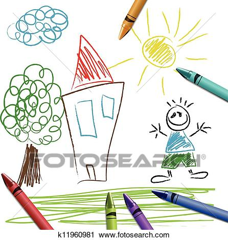 Crayon set with kid drawing Clipart.