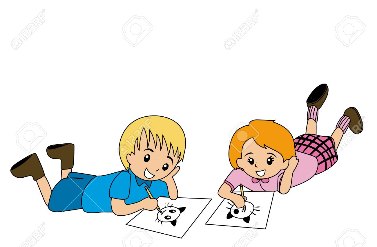 Illlustration of Kids Drawing on Paper.