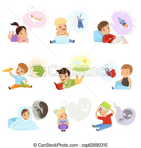 Children reading books and dreaming, kids imagination and fantasy concept  vector Illustration on a white background.