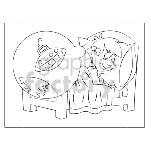 kid dreaming of ufos coloring page clipart . Royalty.