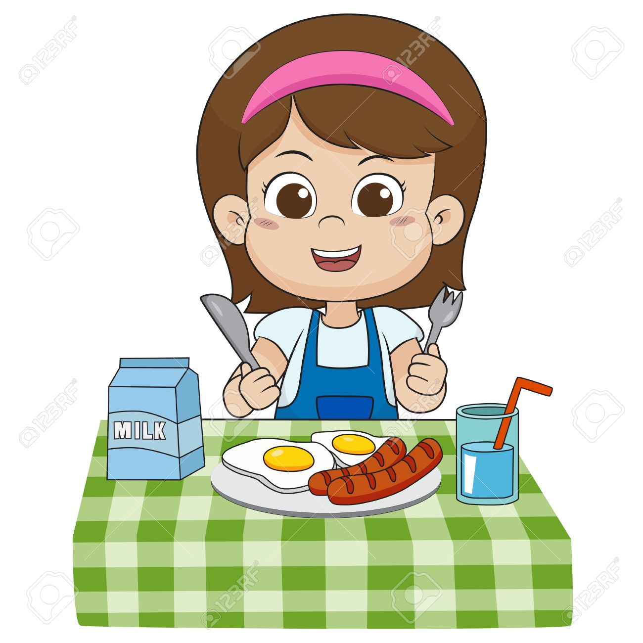 The child eats breakfast that can affect the growth of children...