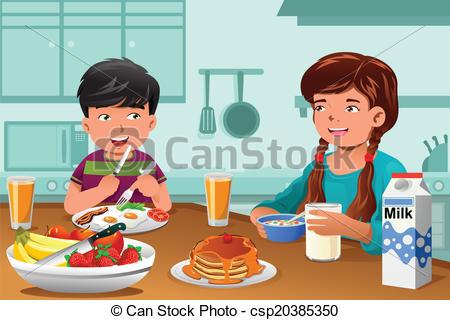 Kids eating healthy breakfast.