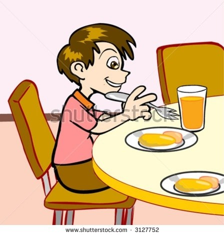 Boy Eating Breakfast Clipart throughout Boy Eating Breakfast Clipart.