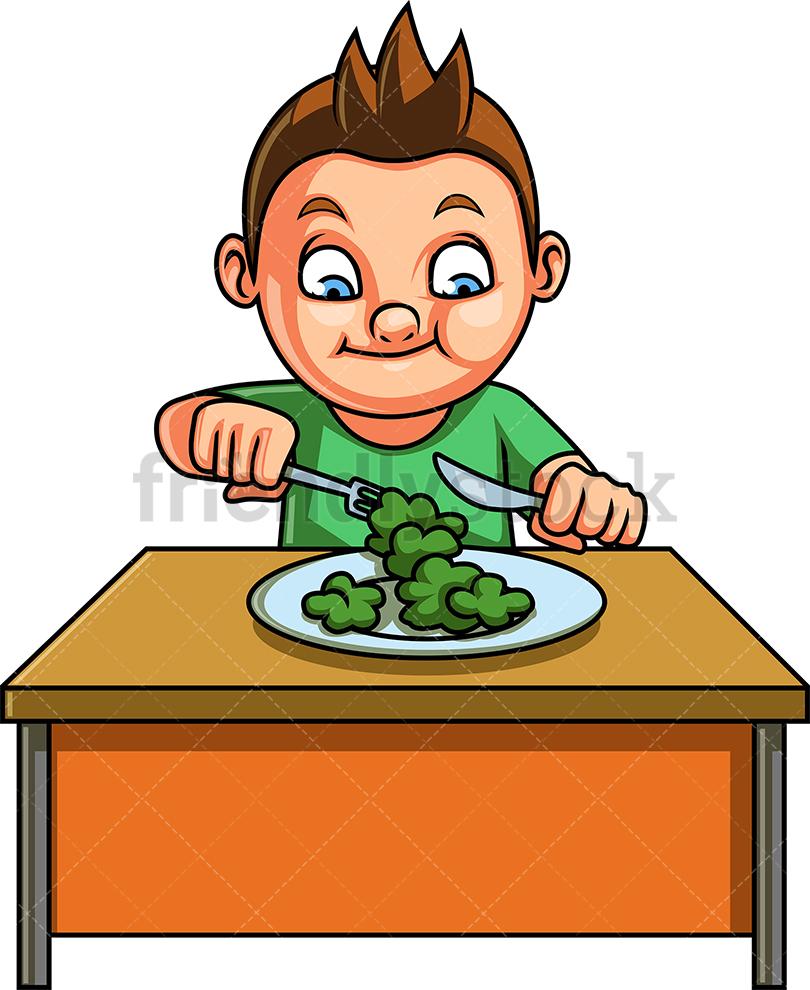Little Boy Eating Vegetables.
