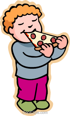 Kids Eating Pizza Clipart.
