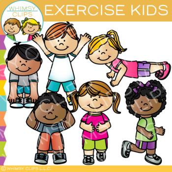 Kids Exercise Clip Art.
