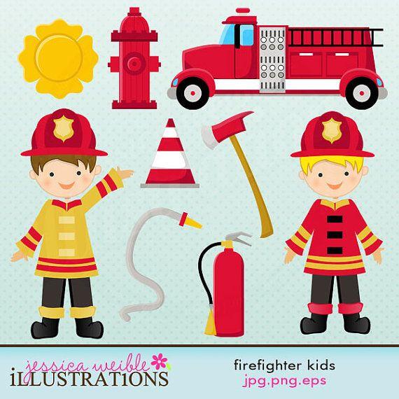 Firefighter Kids Cute Digital Clipart.