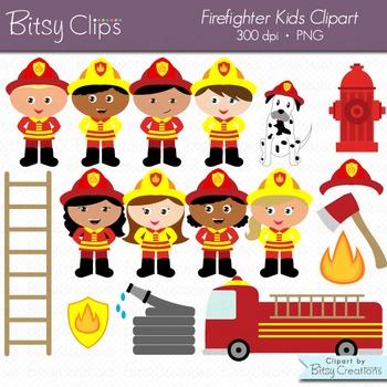 Firefighter Kids Digital Art Set Clipart Commercial Use Clip Art Fireman  Clipart.