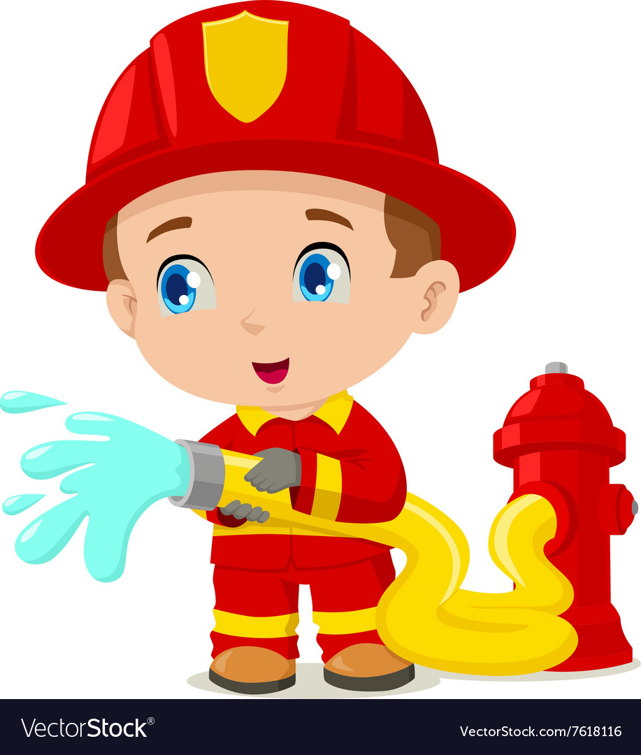 Firefighter vector image.