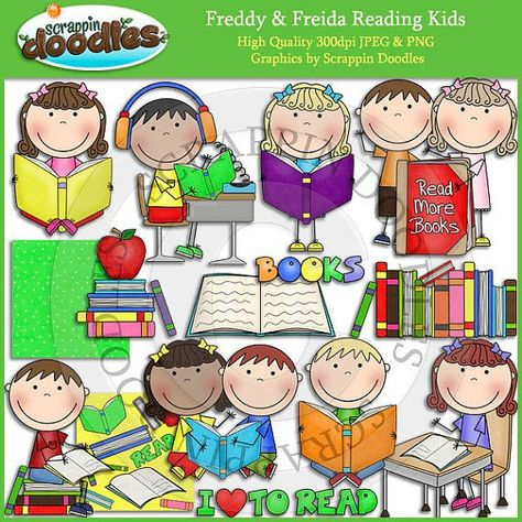 Freddy & Freida Reading Kids Clip Art in 2019.