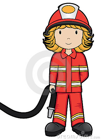 Cartoon Smiling Firefighter Girl Stock Vector.