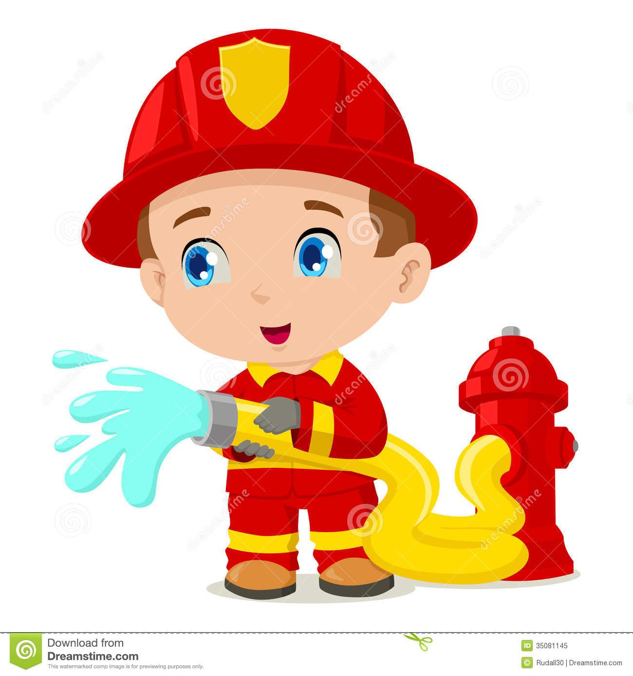 Cartoon Girl Fireman Clipart.