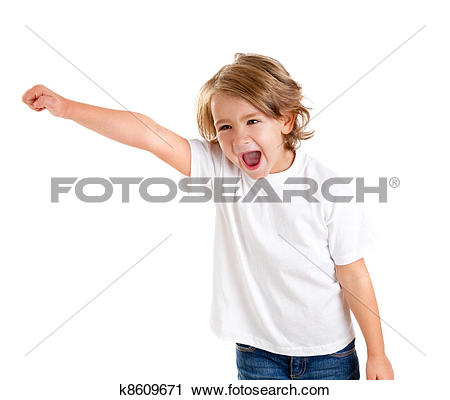 Stock Photography of children kid screaming with happy expression.