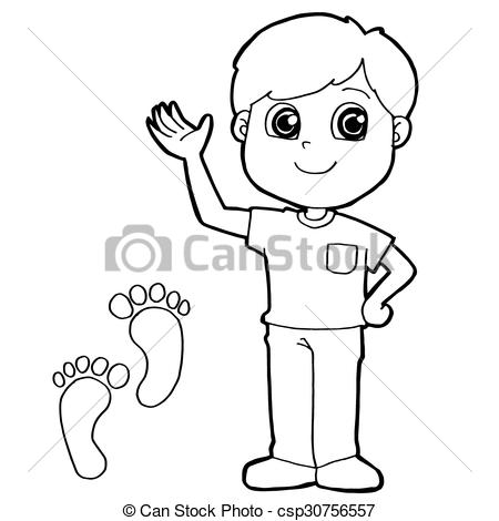 Clipart Vector of kid with paw print Coloring Page ve.