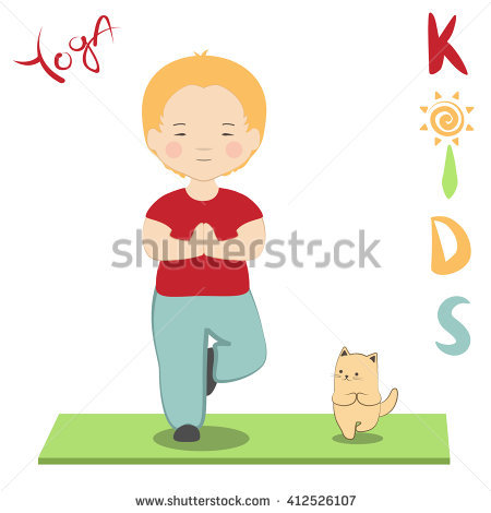 Yoga Print Boy His Cat Practicing Stock Vector 412526107.