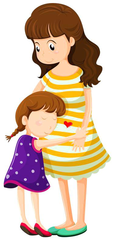 Parents Hugging Child Clipart.
