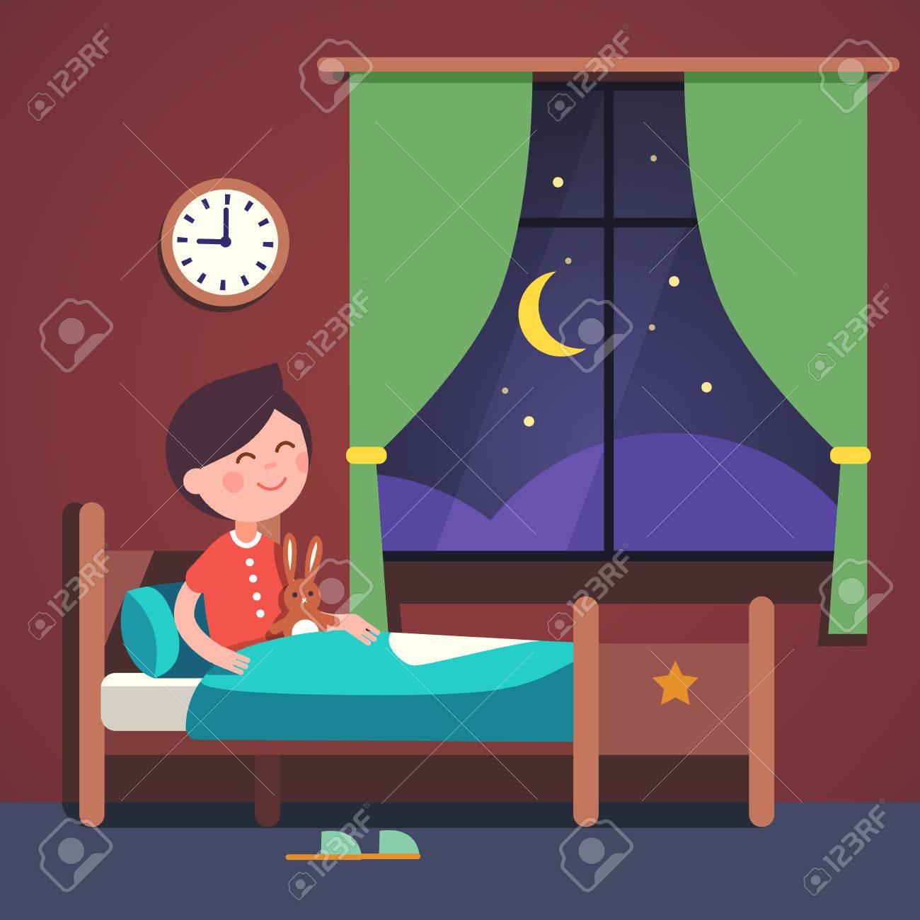 Boy kid preparing to sleep bedtime in his bedroom bed. Good night...