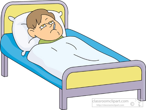 Sick Kid In Bed Clipart.