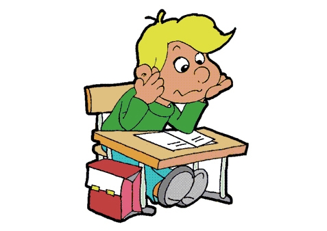 Kid Working At Desk Clipart.