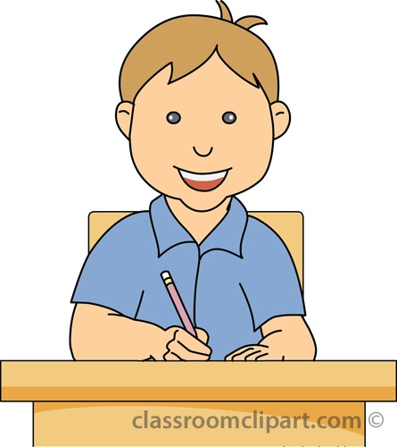 Boy Working At Desk Clipart.