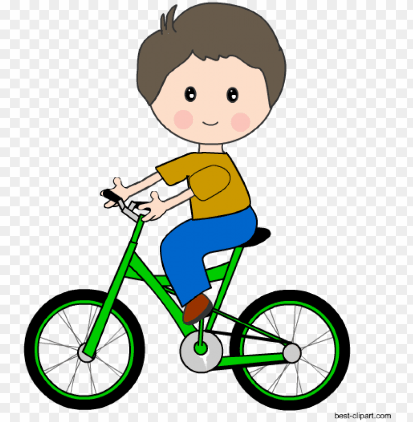 kid riding a green bicycle free clip art.
