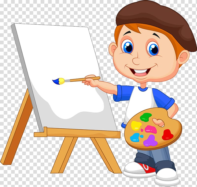Boy standing beside easel holding paintbrush , Painting.