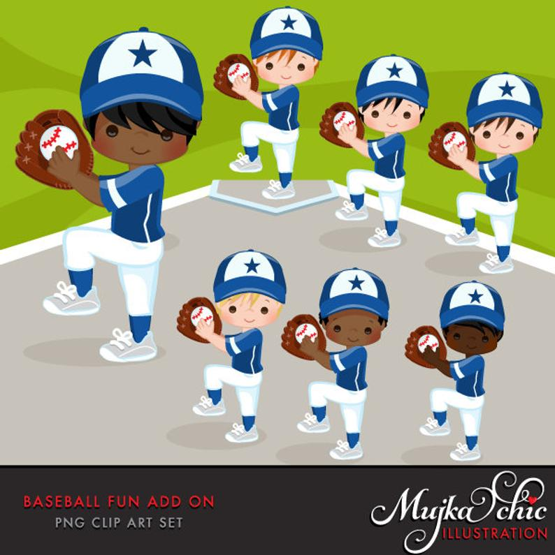Baseball Clipart ADD ON. Baseball graphics, baseball players, baseball game  illustrations, kids playing baseball, home run, african american.