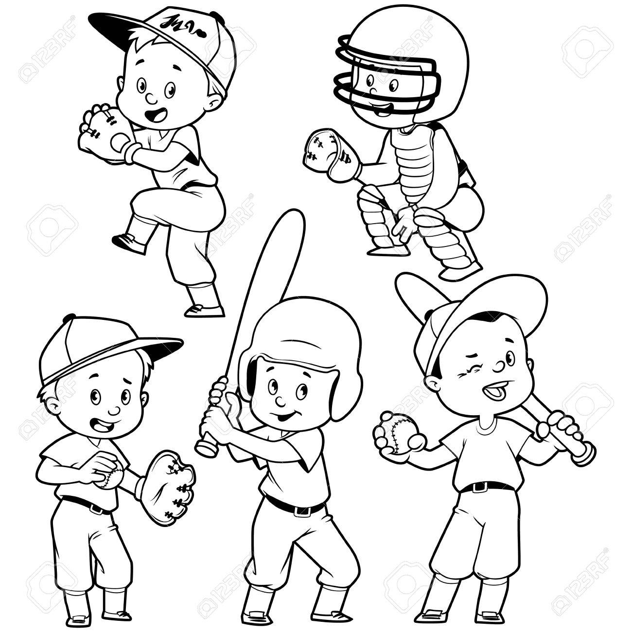 Cartoon kids playing baseball. Vector clip art illustration on...
