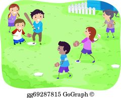 Kids Playing Baseball Clip Art.