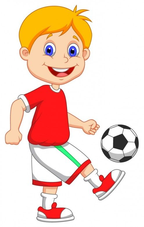 Little Kid Playing Soccer Clipart.