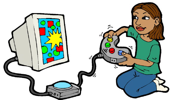 Kid playing video games clipart no water mark.