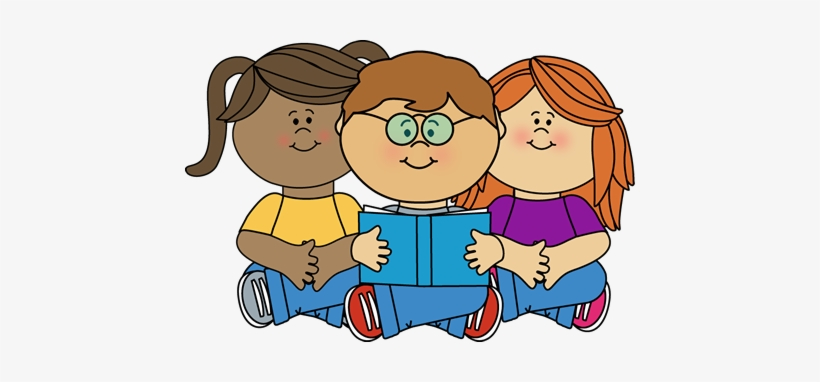 Kids Reading A Book Clipart Transparent PNG.