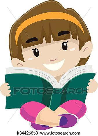 Kid reading a book Clipart.