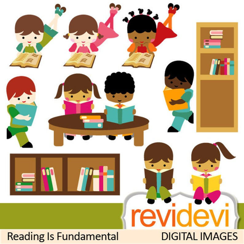 Reading clipart sale. Kids sit, stand read a book clip art. Book club,  students, back to school, library book shelf.