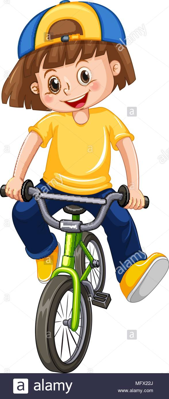 A Kid Riding Bicycle on White Background illustration Stock Vector.