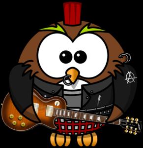 Kid rockstar owl clipart.