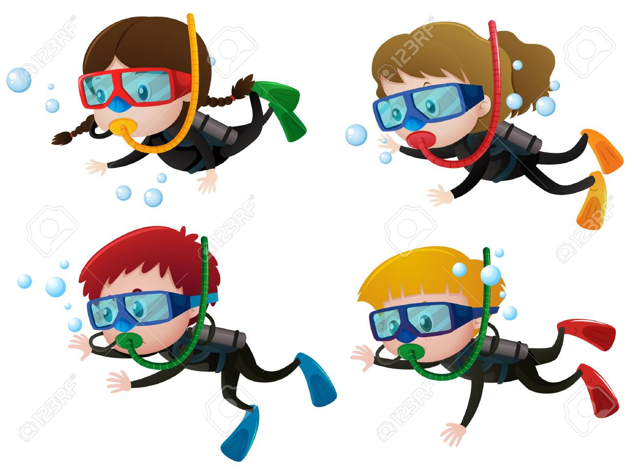 Four kids scuba diving underwater illustration.