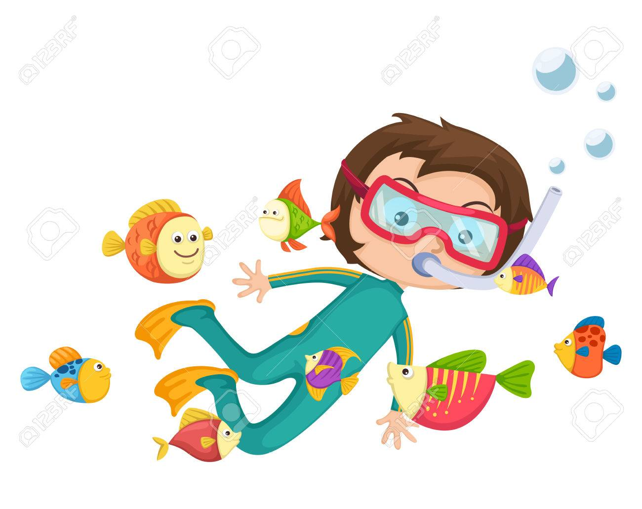 illustration of boy scuba diving vector.