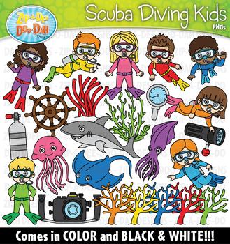 Scuba Diving Kids Clipart Set {Zip.