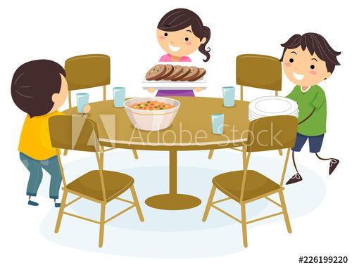 Stickman Kids Set Table Illustration.