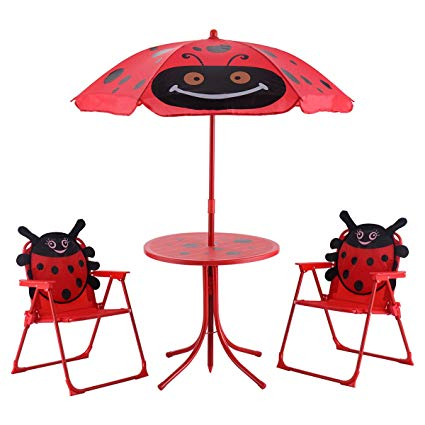 Amazon.com : Kids Patio Set Table And 2 Folding Chairs w.