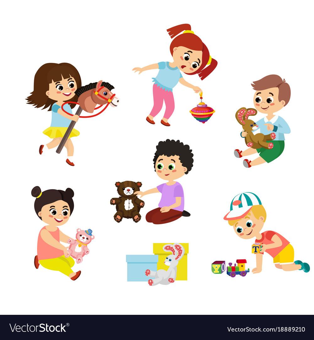 cartoon children play.