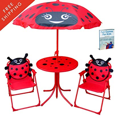 Amazon.com: Kid Folding Table And Chairs Set With Umbrella.